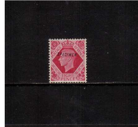 view larger image for SG 472s (1939) - 8d Bright Carmine. A good mounted mint stamp vith vertical crease overprinted ''SPECIMEN''. SG Cat �250  