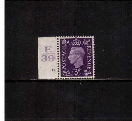 view larger image for SG 467var (1938) - 3d Violet marginal single superb unmounted mint showing E39 Cylinder 11 DOT and the listed variety of being a ''Shadow'' Control. See SG Spec Cat. 