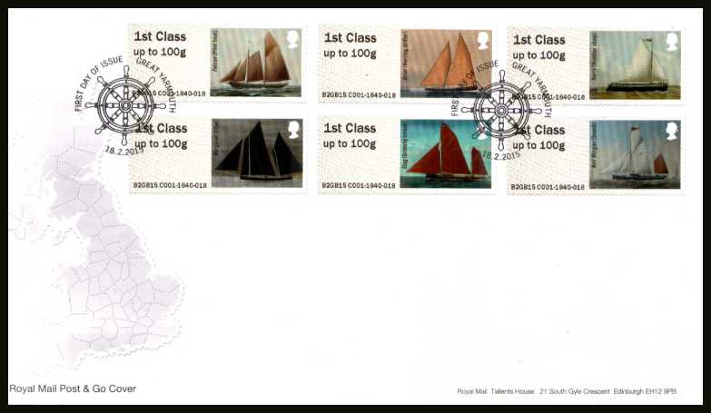 view larger back view image for ROYAL MAIL 'POST & GO' - WORKING SAIL -  1st Series set of six on an unaddressed official Royal Mail FDC cancelled with the official alternative FDI cancel for GREAT YARMOUTH dated 18-2-2015