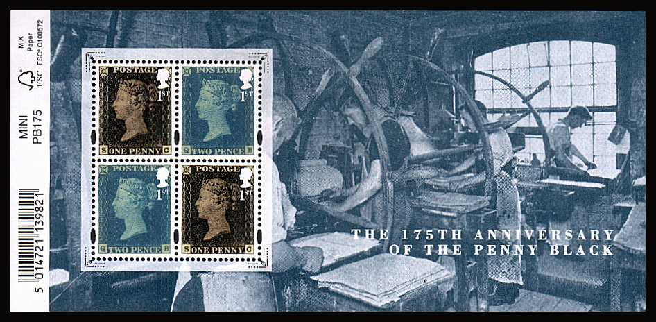view larger image for SG MS3710 (6 May 2015) - 175th Anniversary of The Penny Black<br/>minisheet with barcode tab at left (easily removed)