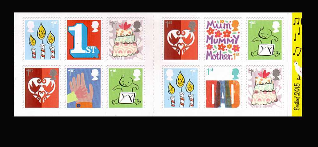 view larger image for SG 3670-3677 (2015) - Smilers Booklet stamps<br/>
