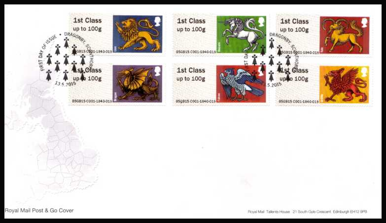 view larger back view image for ROYAL MAIL 'POST & GO' - HERALDIC BEASTS -  set of six on an unaddressed official Royal Mail FDC cancelled with the official alternative FDI cancel for DRAGONBY - SCUNTHORPE dated 13-5-2015