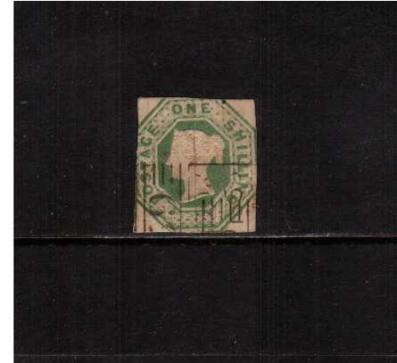 view larger image for SG 55 (1848) - EMBOSSED - 1/- Green.<br/>A lightly cancelled stamp with no margins but NOT cut to shape!<br/>SG Cat �1000 