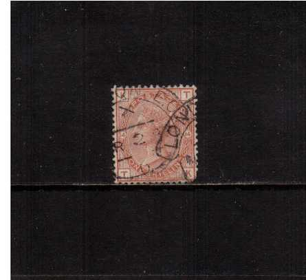 view larger image for SG 163 (1881) - 1/- Orange-Brown from Plate 14 lettered ''T-K''. A superb fine used stamp cancelled with a LONDON ''Hooded Circle'' but with a SE corner fault hence price! <br/>SG Cat �170