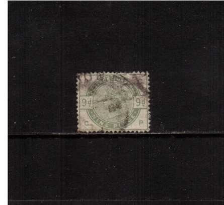 view larger image for SG 195 (1883) - 9d Green lettered ''C-P''. A lightly cancelled stamp with reasonable colour. Note, all perforations are there, perf tips are black because of cancel.<br/>SG Cat �480 