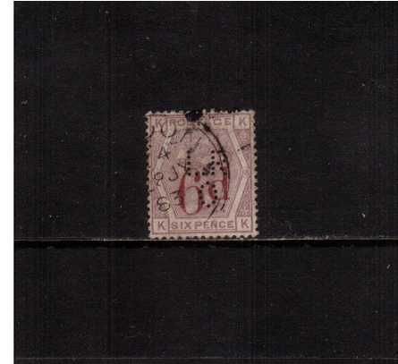view larger image for SG 162 (1883) - 6d of 6d Lilac lettered ''K-K''. A good used ''perfined' single'. <br/>SG Cat �150 