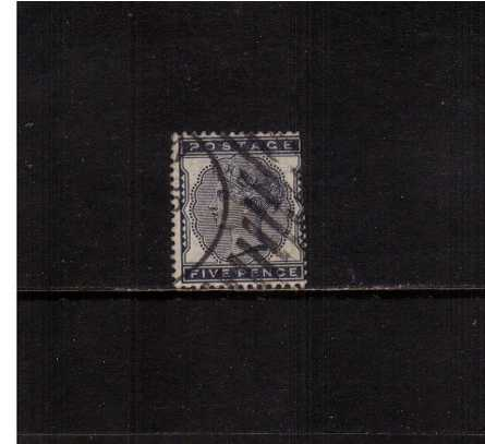 view larger image for SG 169 (1881) - 5d Indigo cancelled with part of a Hoster cancel. The stamp has some trimmed perforations at right.<br/>SG Cat �175 