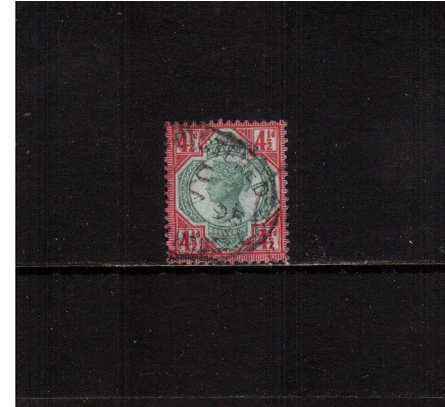 view larger image for SG 206 (1887) - 4�d Green and Carmine. A fine used stamp with a small tear at right.<br/>