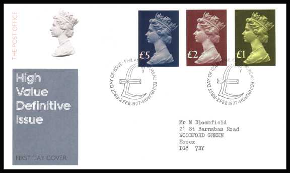 view larger back view image for The Machin High Value set of three on neatly typed addressed official Post Office FDC cancelled with two strikes of PHILATELIC BUREAU - EDINBURGH cancel dated 2 FEB 1977