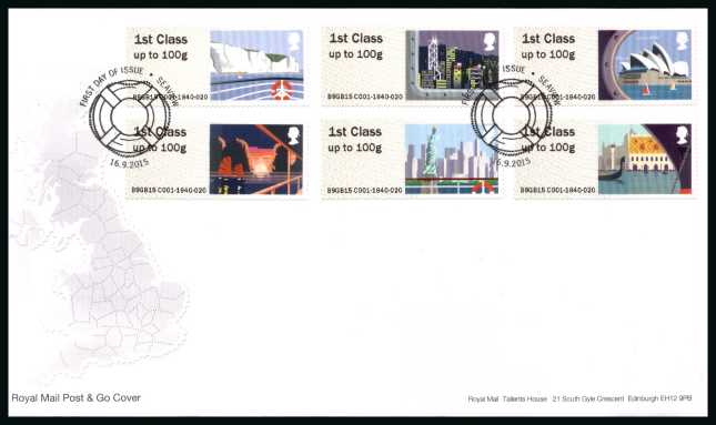 view larger back view image for ROYAL MAIL 'POST & GO' - SEA TRAVEL - 1st Series set of six on an unaddressed official Royal Mail FDC cancelled with the official alternative FDI cancel for SEAVIEW dated 16-9-2015