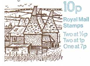 British Stamps QE II Folded Booklets Item: view larger image for SG FA4 (1978) - 10p Booklet - Design No. 1, Oast Houses