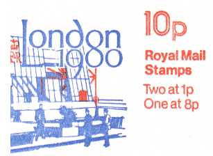 British Stamps QE II Folded Booklets Item: view larger image for SG FA10 (1979) - 10p Booklet -  'LONDON 1980' Dated inside 'August 1979'
