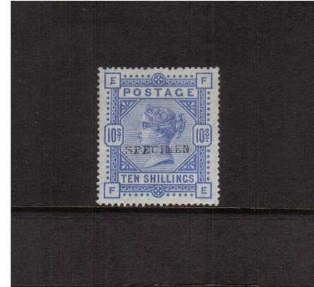 view larger image for SG 183s (1883) - 10/- Ultramarine lettered ''F-E'' overprinted ''SPECIMEN'' type 9. A stunning very lightly mounted mint stamp with excellent centering and full original gum. A gem! 