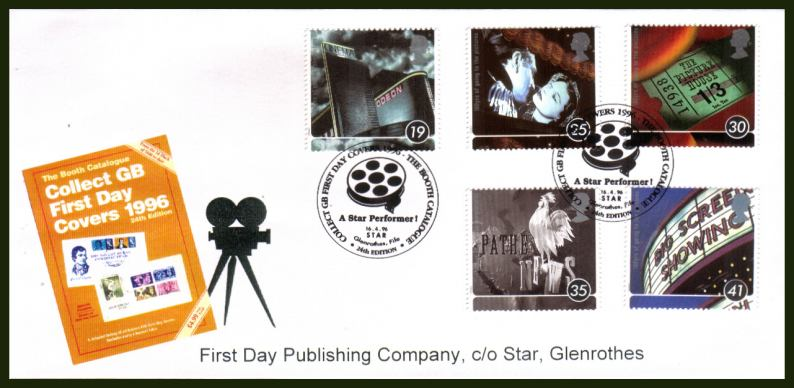 view larger back view image for Centenary of Cinema set of five  on an OFFICIAL unaddressed FDP Co First Day Cover cancelled with the GB FDC CATALOGUE  