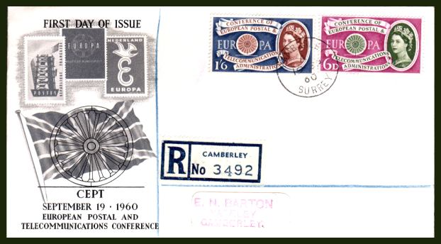view larger back view image for EUROPA set of two on an unaddressed (label addressed) illustrated REGISTERED FDC cancelled with a single strike of a steel CDS for CAMBERLY - SURREY dated 19 SP 60 