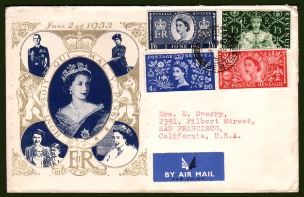 view larger back view image for Coronation set of four on an illustrated FDC cancelled with the a single strike of the WINDSOR - BERKS double ring CDS with typed addressed to USA. The cover has been opened and has a NE corner fault clear of the stamp. Priced on condition.<br><b>XPX</b>