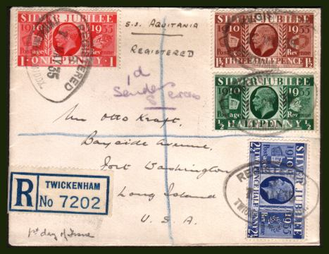 view larger back view image for KIng George 5th Silver Jubilee on a small, neatly opened hand addressed Registered envelope to USA each stamp cancelled with an oval rubber REGISTERED cancel dated 7 MAY 35.