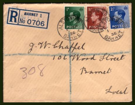 view larger back view image for King Edward 8th - �d, 1�d and 2�d values on a hand addressed FDC cancelled with three firm strikes of a steel CDS reading ALSTON RD - BARNET dated 1 SP 36.  
