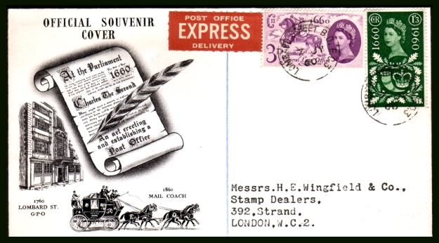 view larger back view image for General Letter Office set of two on illustrated FDC with printed address sent EXPRESS cancelled with the scarce LOMBARD STREET steel CDS dated 7 JY 60. Superb.