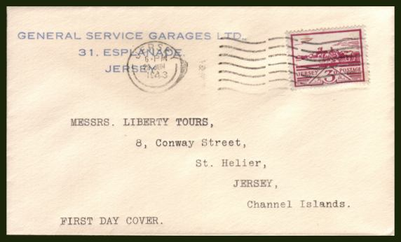 view larger back view image for JERSEY - Jersey Views 3d Violet on a neatly typed FDC cancelled with a JERSEY ''wavy line'' cancel clearly dated 29 JUN 1943. <br><b>XPX</b>