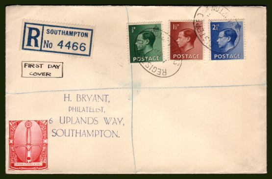 view larger back view image for King Edward 8th - �d, 1�d and 2�d values on a handstamp addressed FDC cancelled with two strikes of the REGISTERED oval handstamp for SOUTHAMPTON dated 1 SP 36. 