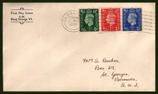 view larger back view image for The �d, 1d and 2�d ''Dark Colours'' set of three on a neatly hand addressed to BERMUDA (with arrival mark on back) FDC with printed cachet at right cancelled with a  GLASGOW ''wavy line'' cancel dated 10 MAY 1937.   