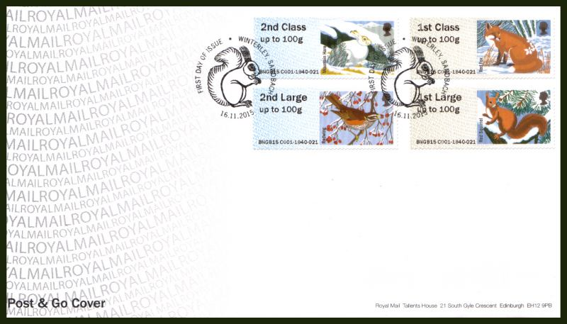 view larger back view image for ROYAL MAIL ''POST & GO'' - WINTER FUR AND FEATHERS set of four  on an unaddressed official Royal Mail FDC cancelled with the official alternative FDI cancel for WINTERLEY - SANDBACH dated 16.11.2015