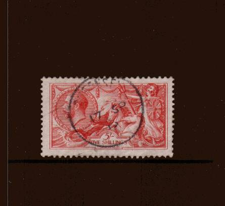 view larger image for SG 401 (1913) - <b>5/- ''Seahorse'' Printed by Waterlow</b><Br/>