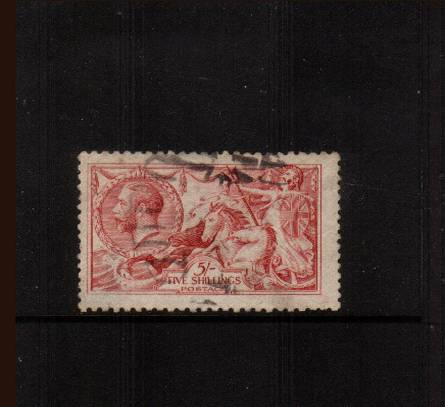 view larger image for SG 410 (1915) - <b>5/- ''Seahorse'' Printed by De La Rue & Co.</b><Br/>