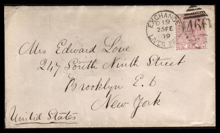 view larger front view of image for 2�d Rosy Mauve - Plate 12 lettered ''G-L''. A fresh stamp neatly cancelled with a complete EXCHANGE - LIVER POOL duplex dated 25 FE 79 to BROOKLYN - NEW YORK.<br/>SG Cat �125.00