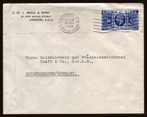 view larger front view of image for 2�d King George 5th Silver Jubilee single on a neatly typed business printed sender envelope cancelled with a LONDON F.S. ''wavy line'' cancel dated 10 MAY 1935.