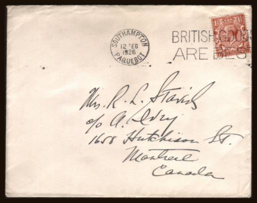 view larger front view of image for 1�d Chestnut on a WHITE STAR SHIPPING LINE envelope cancelled with a SOUTHAMPTON PAQUEBOT slogan cancel reading ''BRITISH GOODS ARE BEST'' dated 12 FEB 1926 hand addressed to MONTREAL CANADA.