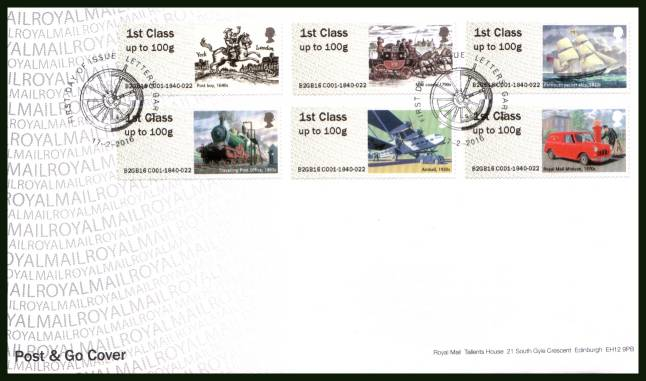 view larger back view image for ROYAL MAIL 'POST & GO' - TRANSPORT - 2nd Series set of six on an unaddressed official Royal Mail FDC cancelled with the official alternative FDI cancel for LETTERS, GARVE dated 17-2-2016