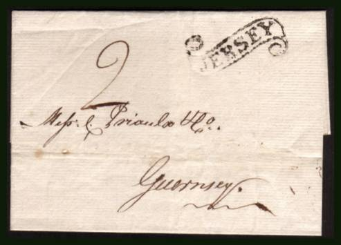 view larger front view of image for A lovely fresh ''local'' very fresh entire from JERSEY to GUERNSEY rated at ''2'' in manuscript with a manuscript date inside of 31 August 1818. A superb strike of the rare JERSEY ''SCROLL'' cancel on an inter-island letter.