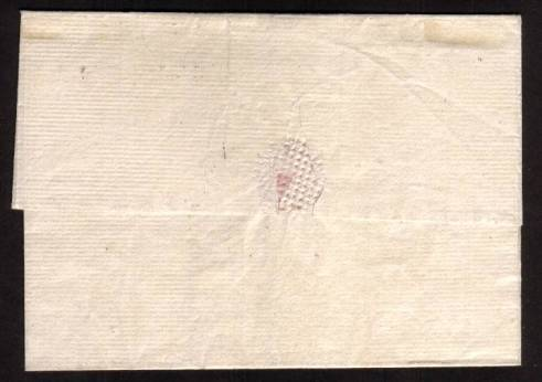 view larger back view of image for A lovely fresh ''local'' very fresh entire from JERSEY to GUERNSEY rated at ''2'' in manuscript with a manuscript date inside of 31 August 1818. A superb strike of the rare JERSEY ''SCROLL'' cancel on an inter-island letter.