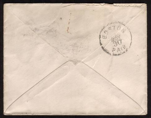 view larger back view of image for Three 1d Lilacs on a small envelope cancelled with three strikes of a variant of the ''squared circle'' dated 14 NO 82 to BOSTON - UNITED STATES