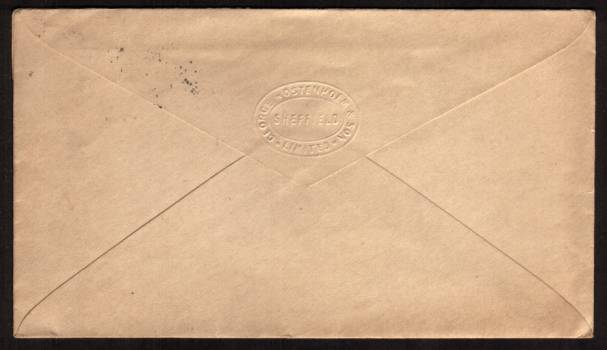 view larger back view of image for A 1d Lilac on a small crisp neatly opened envelope cancelled with a SHEFFIELD ''squared circle'' for JY 14 96 to  VICTORIA STATION HOTEL - SHEFFIELD. Envelope has an embossed flap on the back for GEORGE WOSTENHOLM, famous name in cutlery still running