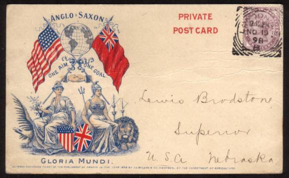 view larger front view of image for 1d Lilac on a ''PRIVATE POST CARD'' - WILSON PATRIOTIC colour illustrated card cancelled with a LONDON ''Squared Circle'' to NEBRASKA - USA. Some feint horizontal creasing but a rare patriotic card.