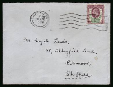 view larger front view of image for 1�d Purple and Green on a small hand addressed envelope cancelled with a crisp SHEFFIELD wavy line clearly dated 31 MAR 1930. Stamps from the reign of EDWARD 7th were invalidated the following day. Thus a last day cover!