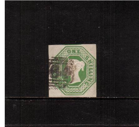 view larger image for SG 55 (1847) - Embossed - 1/- Green<br/>A lovely cut square fine used single<br/>with four clear margins, close at right.<br/>