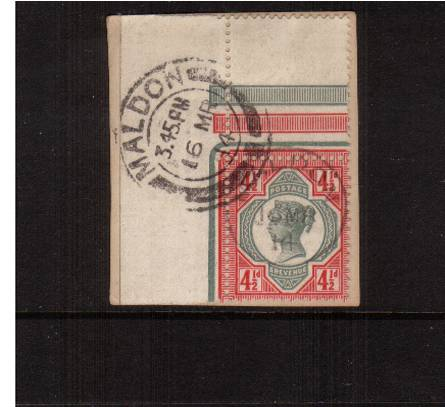 view larger image for SG  206 (1892) - 4½d Green and Carmine<br/>