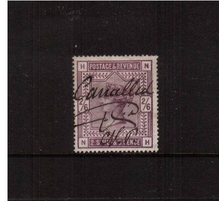 view larger image for SG 179 (1883) - 2/6d Deep Lilac lettered ''N-H''<br/>
