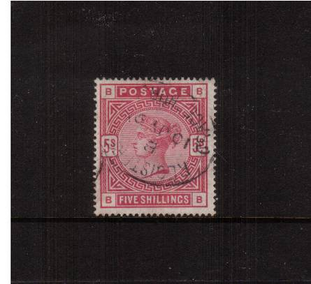 view larger image for SG 180 (1883) - 5/- Rose lettered ''B-B''<br/>
