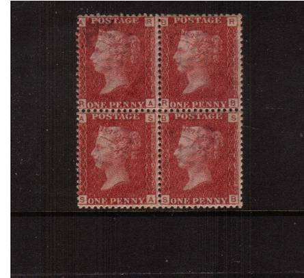 view larger image for SG 43 (1858) - 1d Rose-Red from Plate 165 lettered ''R-A'' to ''S-B''<br/>