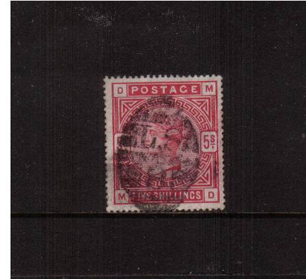 view larger image for SG 181 (1883) - 5/- Crimson lettered ''M-D''<br/>