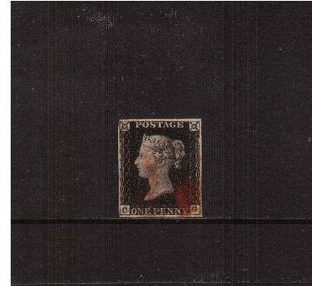 view larger image for SG 2 (1840) - 1d Black from Plate 4 lettered ''C-G''<br/>