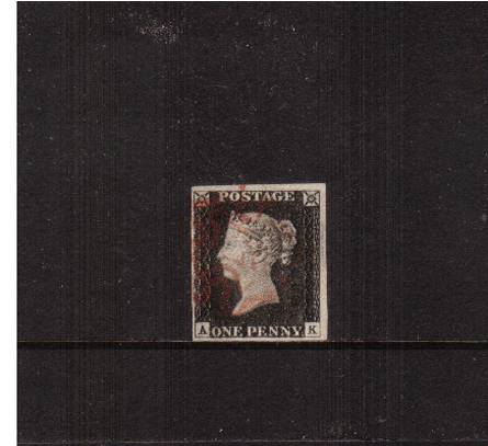 view larger image for SG 2 (1840) - 1d Black from Plate 1b lettered ''A-K''<br/>