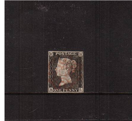 view larger image for SG 2 (1840) - 1d Grey-Black (worn Plate) from Plate 1a lettered ''A-L''<br/>