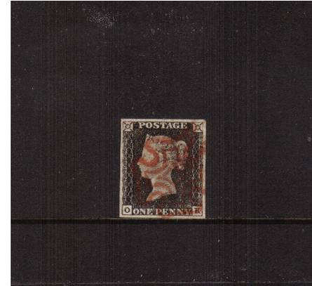 view larger image for SG 2 (1840) - 1d Black from Plate 1a lettered ''O-K''<br/>