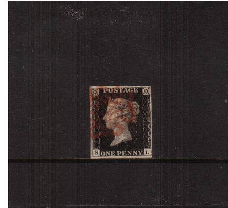 view larger image for SG 2 (1840) - 1d Black from Plate 5 lettered ''S-L''<br/>